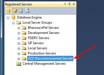 "An exemple of Registered Servers (accessible in the ""View"" Menu of SSMS)"
